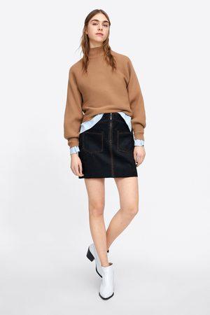 Zara Spódnica mini ze sztucznego zamszu z przeszyciami