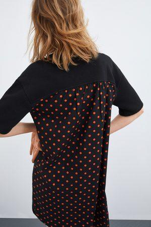 Zara Sukienka z koronkowymi wstawkami w kropki