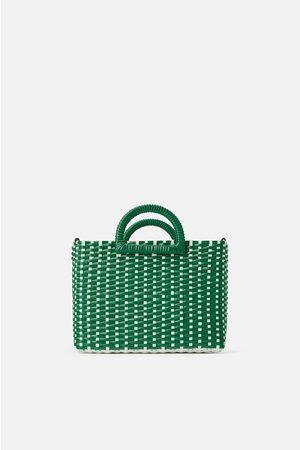 Zara Dwubarwna torba typu shopper z plecionki