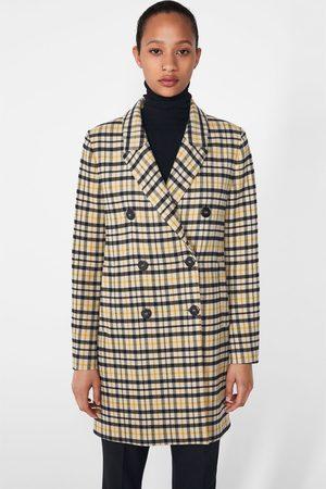 Zara Płaszcz z przyjemnej w dotyku tkaniny w kratę