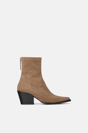 Zara Split suede cowboy heel ankle boots