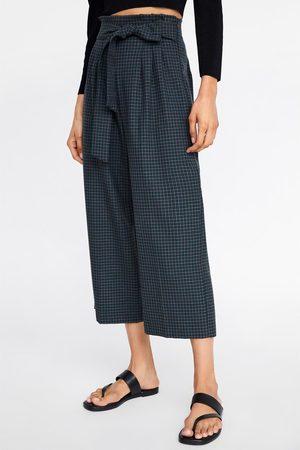 Zara Spodnie typu culotte w kratę z paskiem