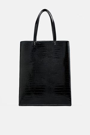 Zara Płaska torba typu shopper w zwierzęcy deseń