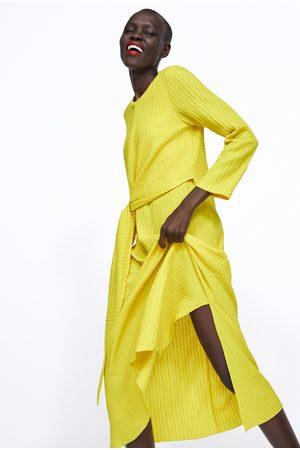 Zara Sukienka w stylu rustykalnym z wiązaniem