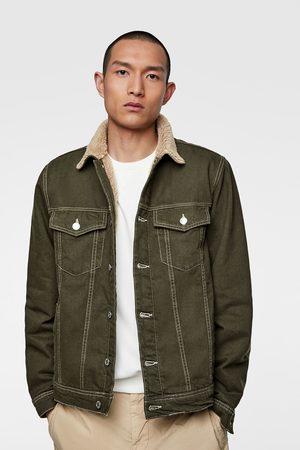 Zara Kurtka jeansowa ze wstawką ze sztucznego baranka