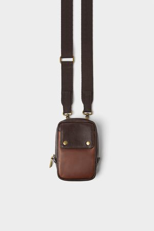 Zara Brown leather mini crossbody bag