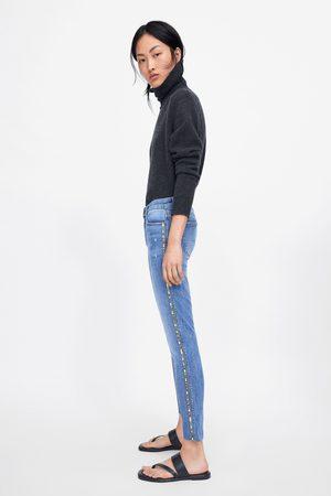Zara Spodnie jeansowe rurki z błyszczącymi lampasami po bokach z kolekcji z1975