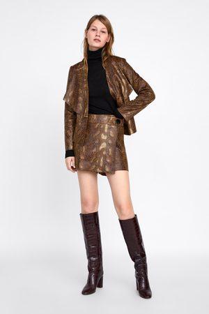 Zara Krótkie spódnicospodnie ze sztucznego zamszu w zwierzęcy deseń