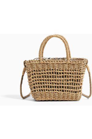 Zara Mini torba typu koszyk z kontrastową podszewką
