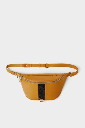 Zara żółta torebka typu nerka z lampasem