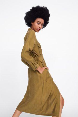 Zara Koszulowa sukienka z kieszeniami