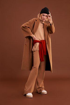 Zara Długi płaszcz ze sztucznego futerka