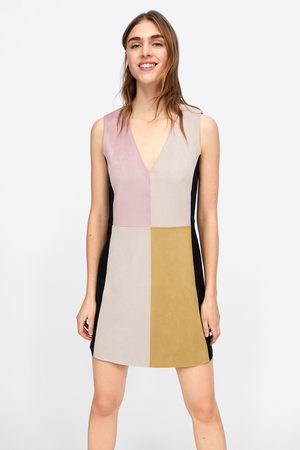 Zara Sukienka ze sztucznego zamszu z wielobarwnymi wstawkami
