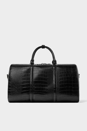 Zara Czarna torba typu bowling z tłoczeniami imitującymi skórę węża