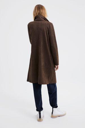 Zara Płaszcz ze sztucznego zamszu