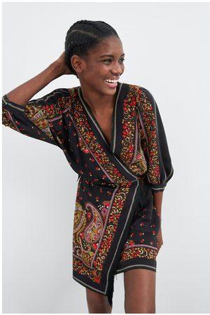 Zara Sukienka z nadrukiem i frędzlami
