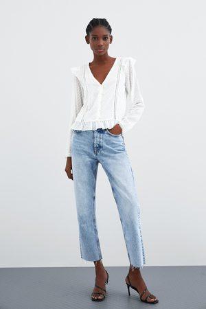 Zara Kobieta Koszule - Koszula z tkaniny plumeti ze wstawkami