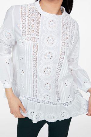 Zara Bluzka z ażurowym haftem