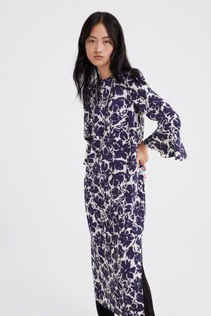 Zara Sukienka z nadrukiem i falbankami na rękawach