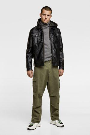 Zara Faux leather jacket with hood