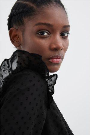 Zara Koszula z tkaniny plumeti ze wstawkami