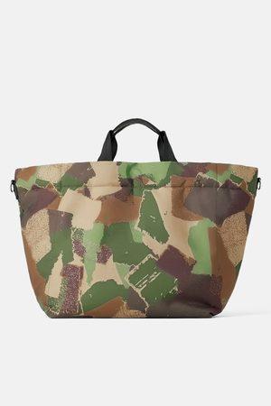Zara Pikowana torba typu shopper w moro