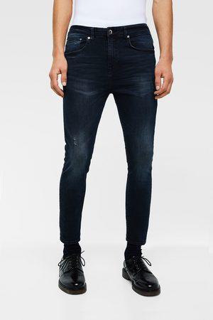 Zara Spodnie jeansowe rurki o kroju marchewkowym