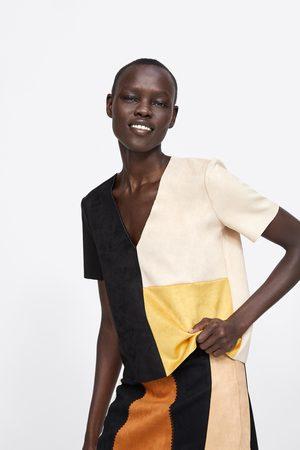 Zara Wielobarwna koszulka ze sztucznego zamszu