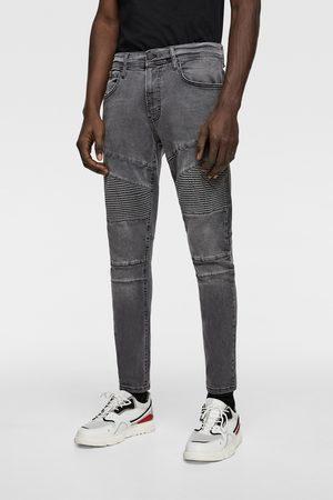 Zara Spodnie jeansowe rurki w stylu motocyklowym