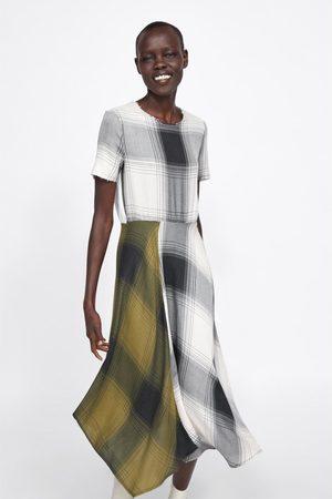 Zara Kobieta Bluzki - Sukienka w kratę ze wstawkami z łączonych tkanin