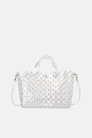 Zara Ażurowa torba typu shopper z ćwiekami