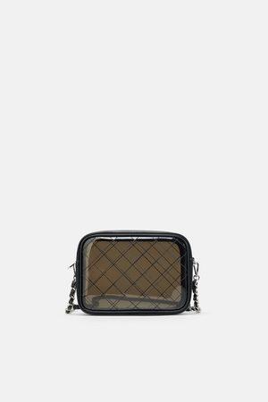 Zara Czarna torebka listonoszka z winylu