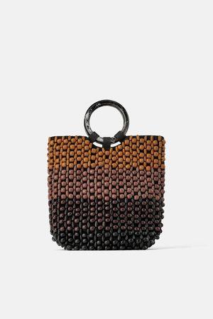Zara Trójbarwna torba typu shopper z koralików