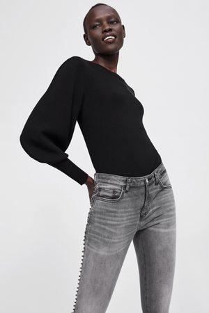 Zara Spodnie jeansowe rurki z lampasami po bokach z kolekcji z1975