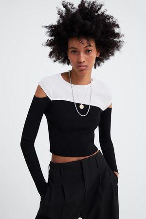 Zara Kobieta Swetry i Pulowery - Sweter z wycięciami i kontrastowymi wstawkami