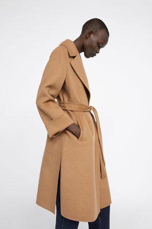 Zara Płaszcz ze skrzyżowanymi połami z paskiem