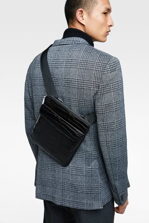 Zara BLACK EMBOSSED MOCK CROC CROSSBODY BAG