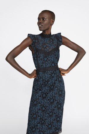 Zara Sukienka o kroju ołówkowym ze wstawkami z gipiury