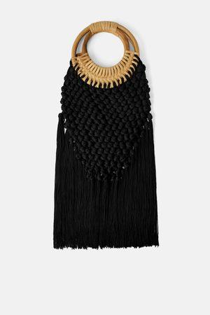 Zara Kobieta Torby shopper - Torba typu shopper z plecionki z bambusową rączką