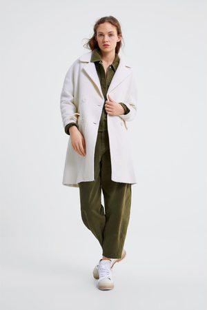 Zara Dwurzędowy płaszcz z kieszeniami