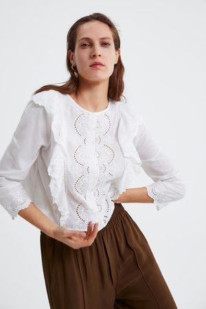 Zara Bluzka z haftem i falbankami