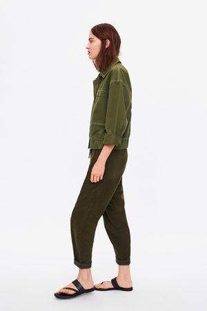 Zara Spodnie sztruksowe o kroju baggy