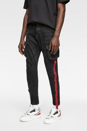 Zara Spodnie jeansowe typu cargo ze wstawkami