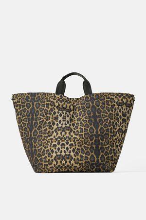Zara Pikowana torba typu shopper w zwierzęcy deseń