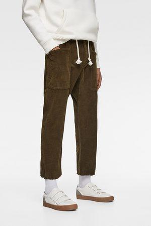 Zara Spodnie joggery sztruksowe z troczkiem