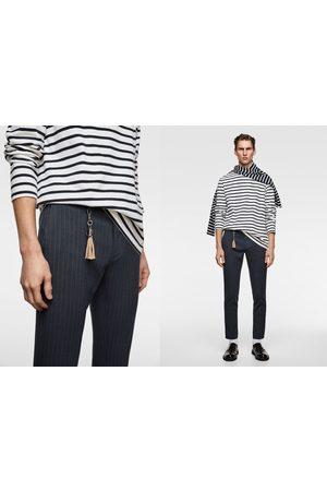 Zara Spodnie z tkaniny melanżowej