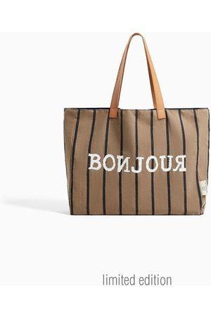 Zara Bawełniana torba typu shopper w kratę