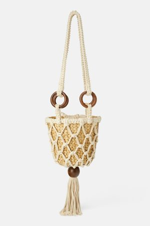 Zara Kobieta Torebki - Natural straw crossbody bag