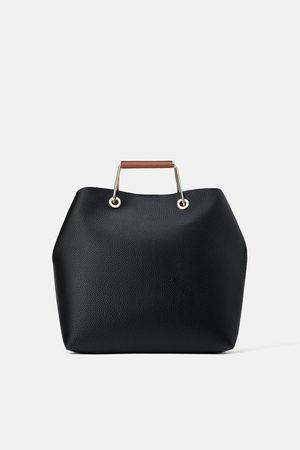 Zara Kobieta Torby shopper - Torba typu shopper z metalowymi rączkami