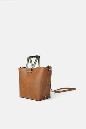 Zara Mini torebka typu shopper z rączkami z metakrylanu
